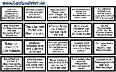 Zigaretten Schachteln Sprüche Für Nichtraucher U Raucher Die Humor Haben  Die Group Hat Den Längsten Namen