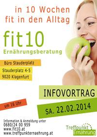 Schlank in den Frühling: Vortrag fit10 Kärnten@Büro Stauderplatz