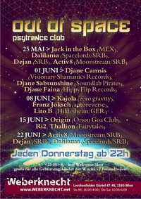 Out Of Space Psytrance Club // Do 1. Juni // Weberknecht