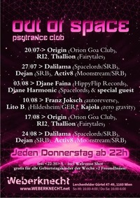 Out Of Space Psytrance Club // Do 3.8. // Weberknecht