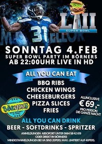 1. Superbowl Party im Börners l Allyoucaneat+drink