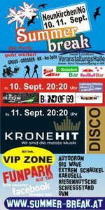 Summer Break 10 in Neunkirchen mit live Bands und Kronehit Disco